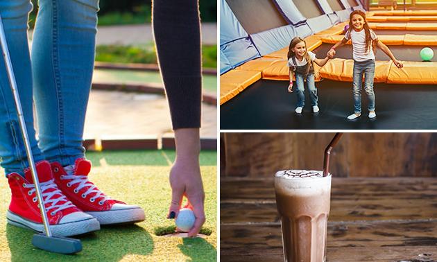 Midgetgolf + trampolinespringen + warme chocolademelk