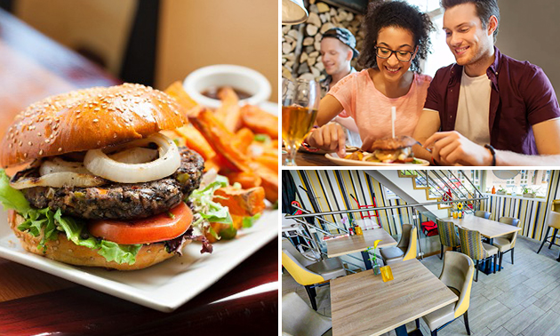 Hotdog/hamburger + friet + blikje frisdrank