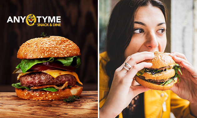 Afhalen: burger + friet + saus evt. + milkshake