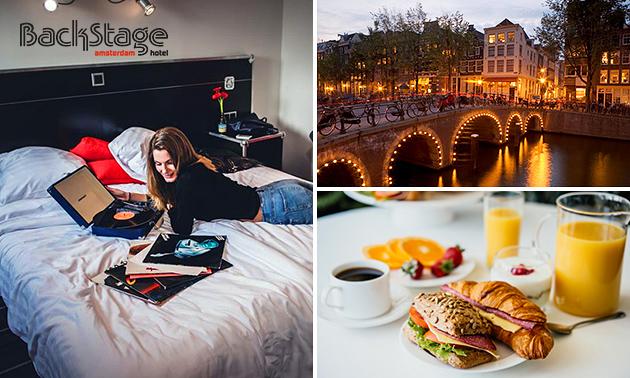 Overnachting + ontbijt + bubbels voor 2 in hartje Amsterdam