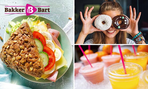 Belegd broodje + drankje + donut bij Bakker Bart