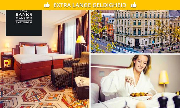 Overnachting voor 2 + ontbijt + hapjes/drankjes in hartje Amsterdam