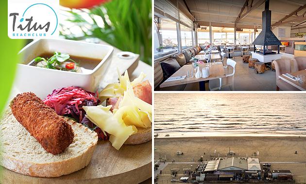 Lunchplank + jus d'orange + loungebed aan het strand
