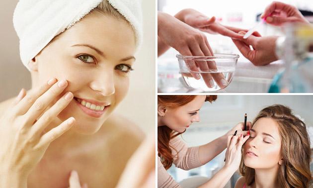 Gelaatsbehandeling (45 min) + manicure of make-up