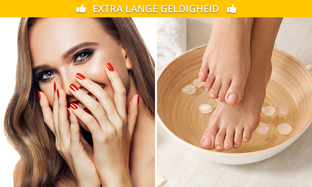 Manicure- of pedicurebehandeling + gellak (45 min)