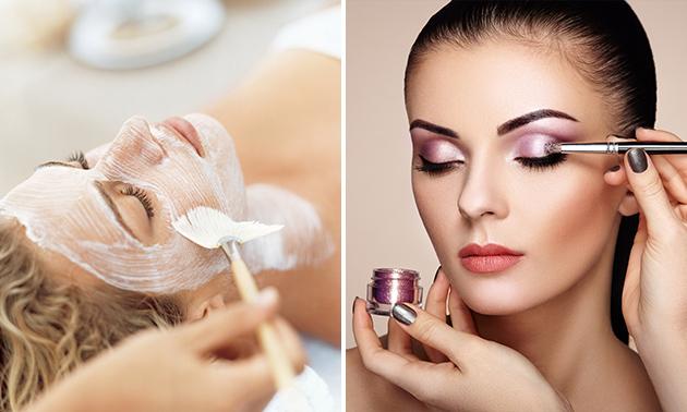 Gezichtsbehandeling (60 min) of make-upworkshop (90 min)