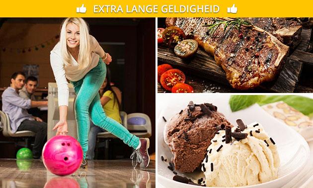 2 spellen bowling + steengrillen + dessert + onbeperkt drank