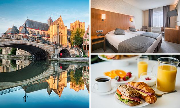 Overnachting voor 2 + ontbijt + late check-out nabij Gent