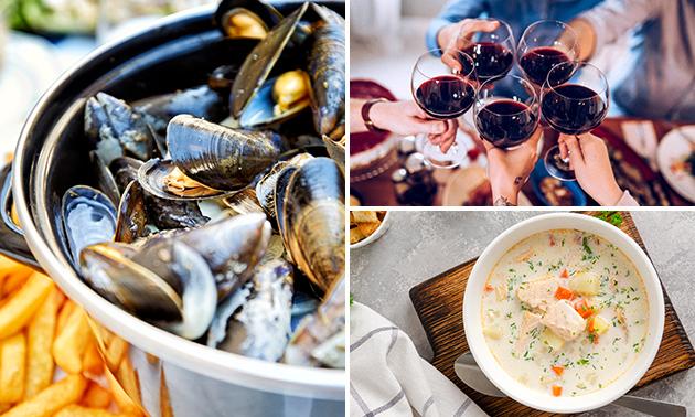 2- of 3-gangendiner of -lunch à la carte aan de kust