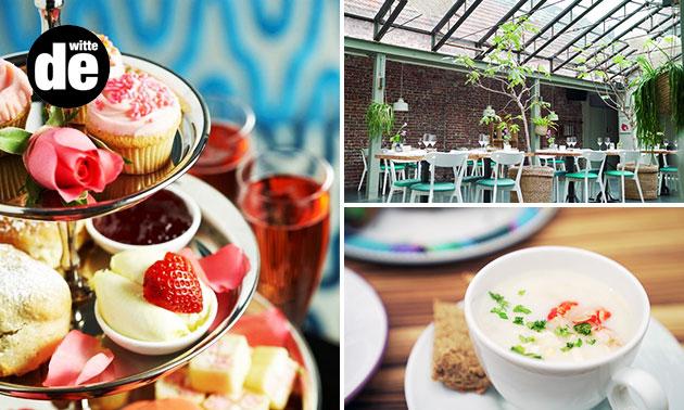 High tea + glas bubbels bij De Witte