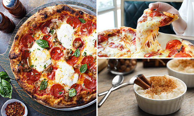 Afhalen: pizza naar keuze + dessert