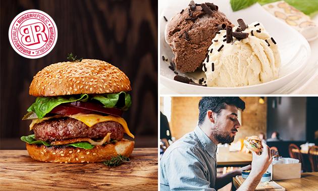 Burger à la carte + frites + évtl. dessert