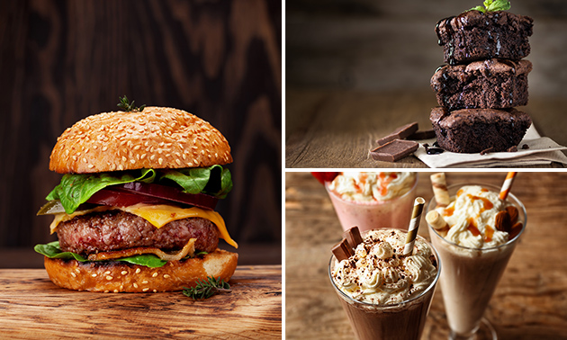Burgermenu naar keuze + milkshake + dessert