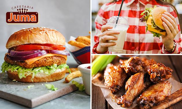Afhalen: burger naar keuze + friet + saus + milkshake