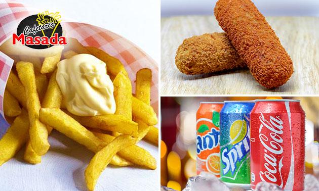 Friet met saus + snack + drankje voor afhaal