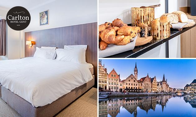 Overnachting voor 2 + ontbijt + glas bubbels in hartje Gent