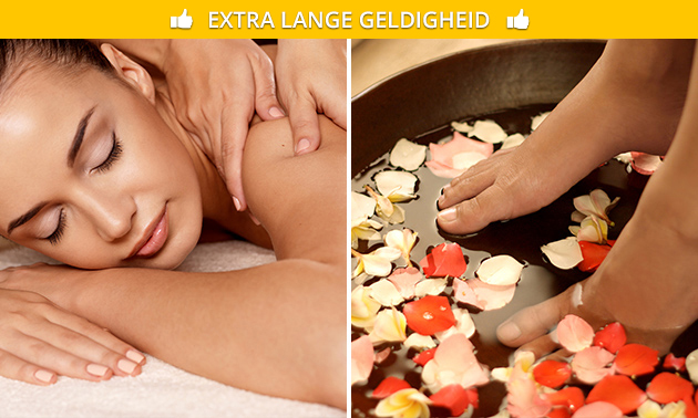 Massage (50 of 80 min) + voetbad (30 min)