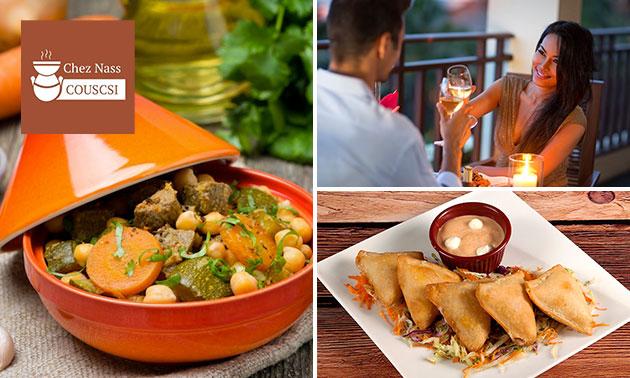 Un menu marocain traditionnel 2 ou 3 services