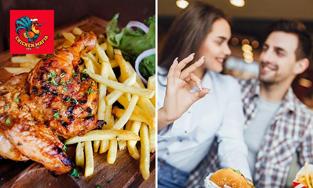 Afhalen: kipmenu naar keuze of mixed box + friet + salade