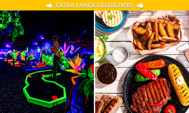 18 holes glowgolf + borrelgarnituur of BBQ