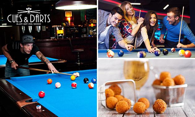Poolen (2 uur) + bitterballen + drankjes bij CUES & DARTS