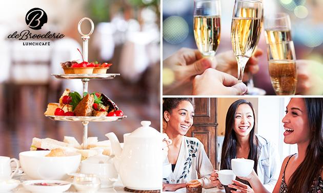 High tea + bubbels bij De Brooderie