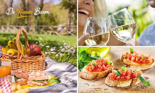 Afhalen: luxe picknicktas + wijn/bier bij De Nieuwe Baron