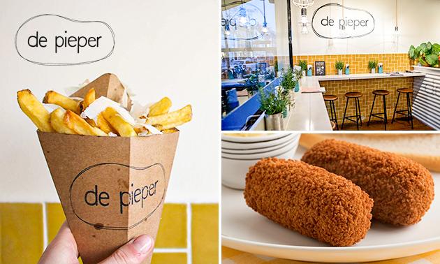 Grote friet + snack naar keuze bij De Pieper