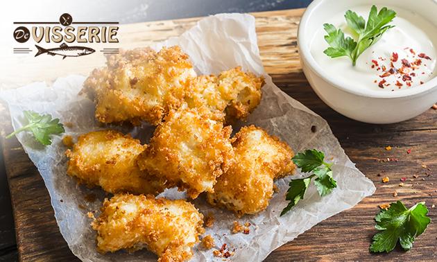 Afhalen: kibbeling of lekkerbek + friet + saus + fris