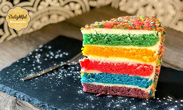 Afhalen: regenboogcake voor 16 personen