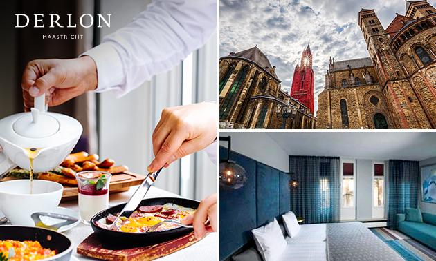 Overnachting voor 2 + evt. diner, fles wijn en ontbijt in Maastricht