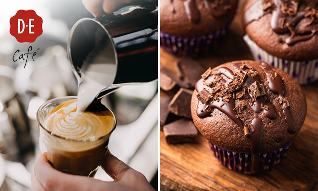 Afhalen: Koffie of warme drank + muffin bij Douwe Egberts