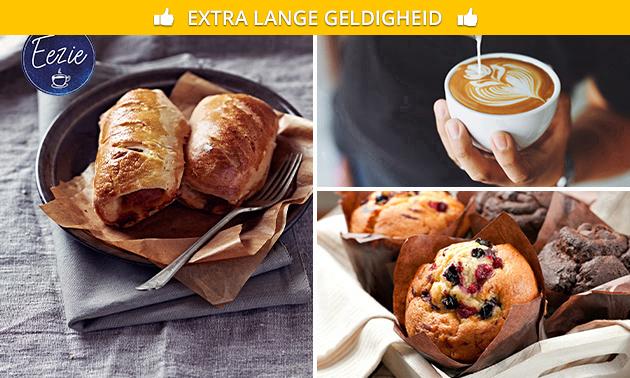 Drankje + muffin + worstenbroodje/saucijzenbroodje
