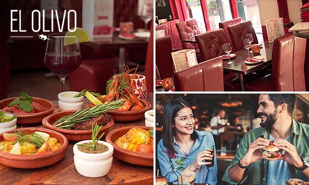 3-gangendiner + brood met dips bij tapasrestaurant El Olivo