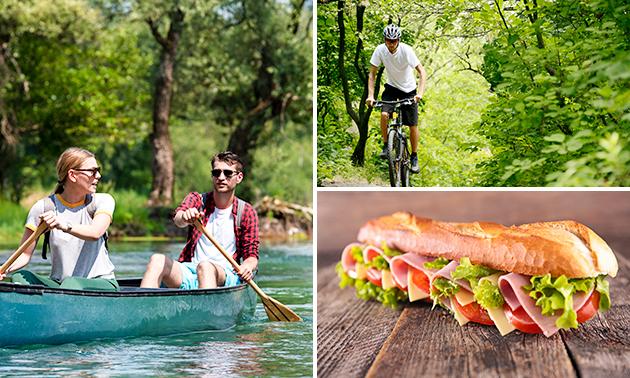 Huur kano, e-bike of mountainbike + broodje + drankje