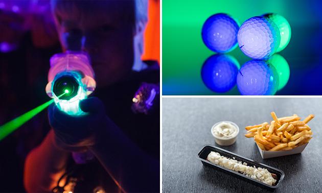 Glow-in-the-dark-minigolf + snackmenu