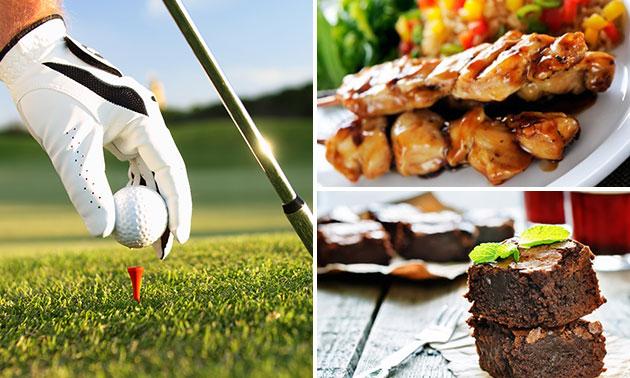 Golfen + koffie/thee en brownie + 3-gangendiner