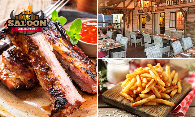 Afhalen: spareribs + friet + sausjes bij Grillrestaurant The Saloon