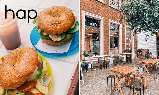 Afhalen: broodje/hamburger + sap naar keuze in hartje Brugge