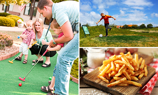 Midgetgolf of voetbalgolf + friet + snack