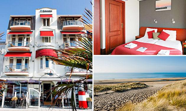 Hotelovernachting + ontbijt + fles wijn voor 2 aan zee