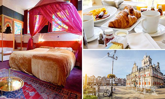Unieke overnachting voor 2 + ontbijt + wijn in hartje Delft