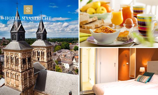 Overnachting voor 2 + gebak + ontbijt in hartje Maastricht