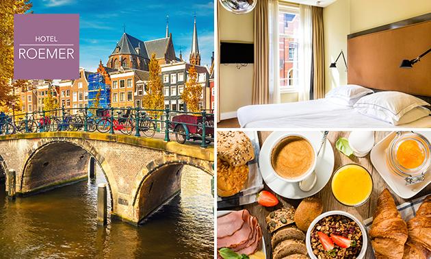 Overnachting voor 2 + ontbijt + drankje in hartje Amsterdam