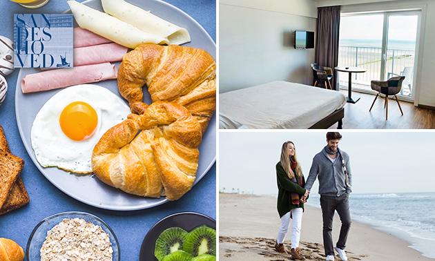 Overnachting(en) aan zee voor 2 + ontbijt + glas cava