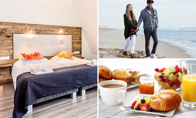 Overnachting voor 2 + ontbijt + diner vlak bij zee