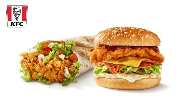 Afhalen: burgers of wraps (2 stuks naar keuze) van KFC