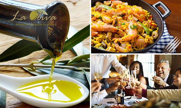 Olijfolie-tasting + tapa + paella + dessert