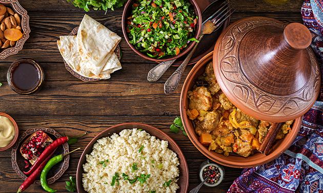 Menu marocain en 3 services + café/thé au coeur de Bruxelles