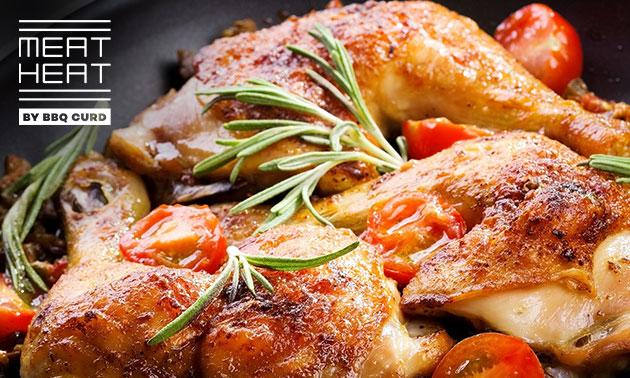 Halve kip + bijgerechten + dessert bij Meat Heat